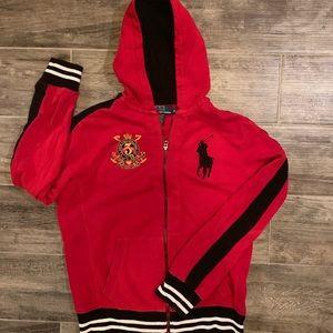 Unisex large pony hoodie color red size medium